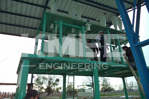place wheat flour machine on steel structure